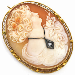 Antique 14K Yellow Gold Cameo Diamond Large Oval Brooch Pin Pendant