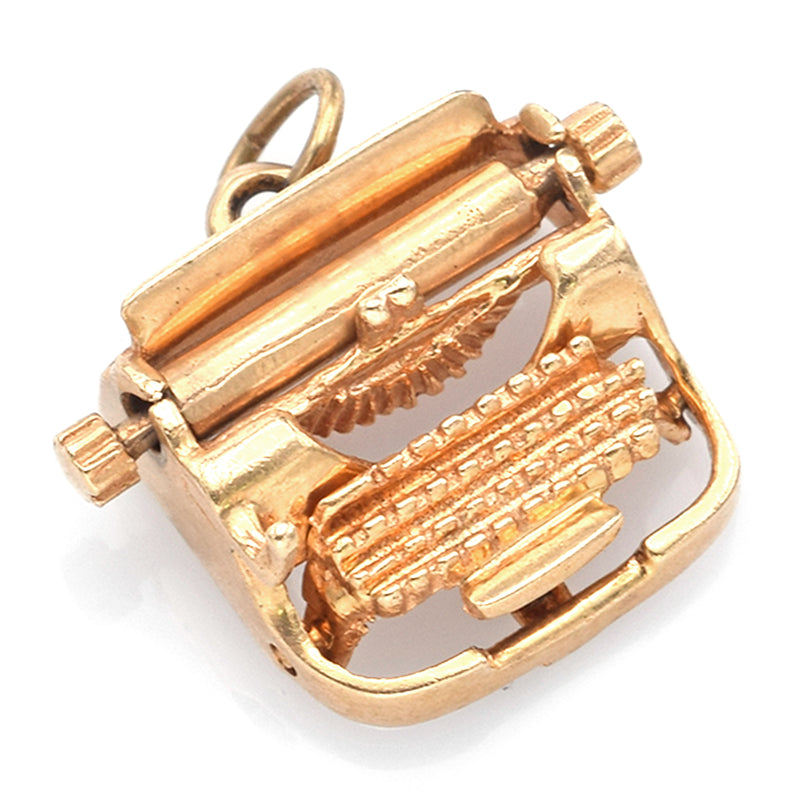 Vintage 14K Yellow Gold Typewriter Charm Pendant