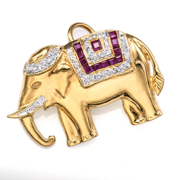 Vintage 18K Yellow Gold Diamond & Ruby Elephant Brooch Pin Pendant