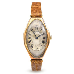 Antique 1917 Patek Philippe Watch 14k Gold Tourneau Case Gilded Dial