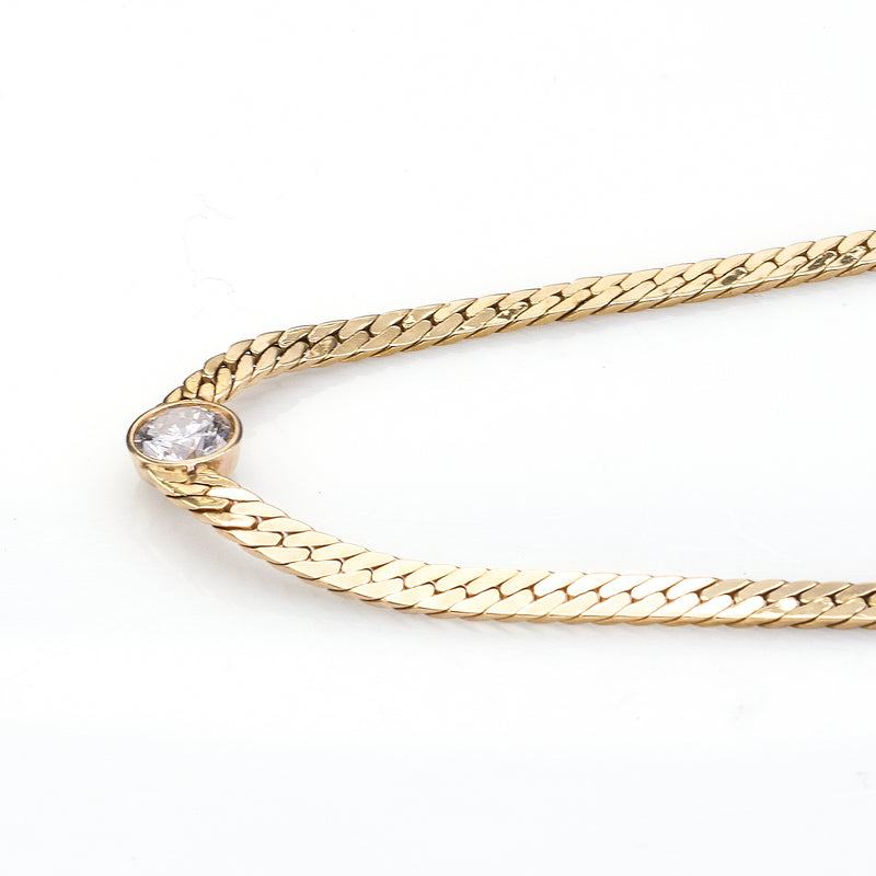 Vintage 14K Yellow Gold 1 Carat Diamond Chain Necklace