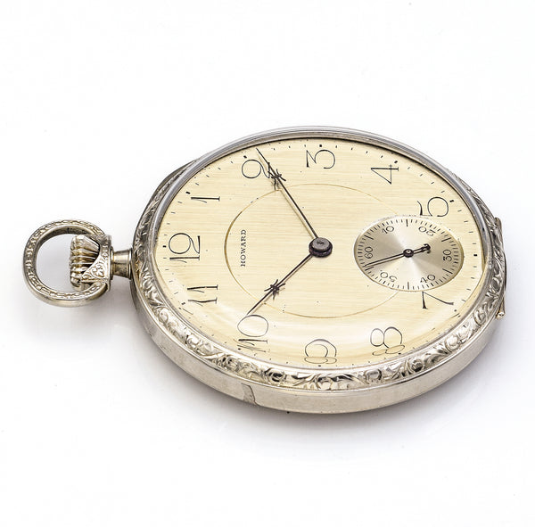 Antique 1912 Howard 14K White Gold 17 Jewels Size 12 Pocket Watch
