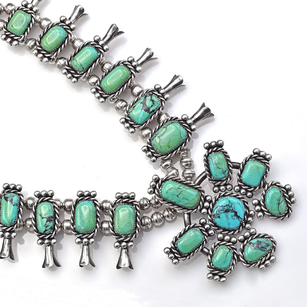 Vintage Sterling Silver Turquoise Southwestern Squash Blossom Necklace