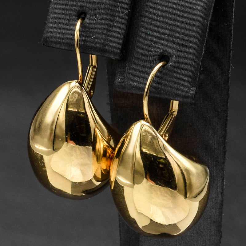 Hana Vintage 14K Yellow Gold Pear Dome Lever-Back Earrings