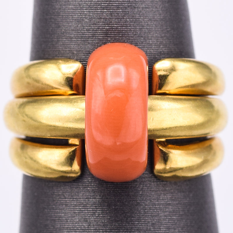 Van Cleef & Arpels 18K Gold Red Coral & 0.40 TCW Diamond 5 Piece Interchangeable Ring Set 12.1G