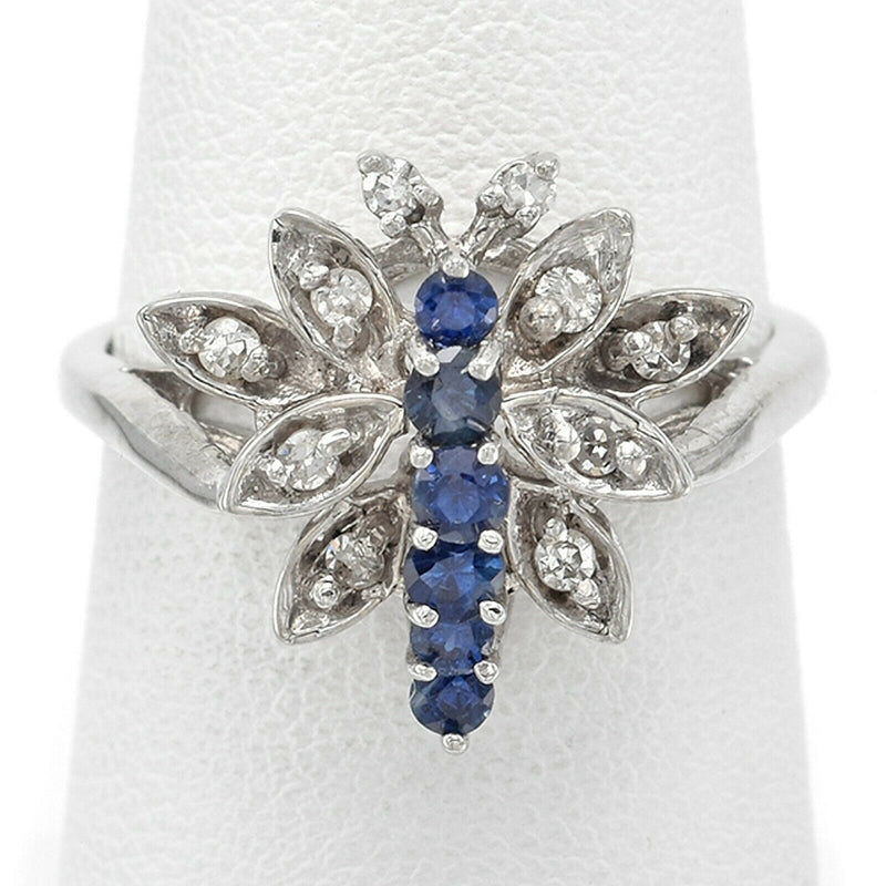 Vintage 14K White Gold Sapphire & Diamond Butterfly Bug Band Ring