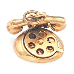 "Vintage 14K Gold ""I Love U"" ""Hello"" Rotary Dial Telephone Charm Pendant"