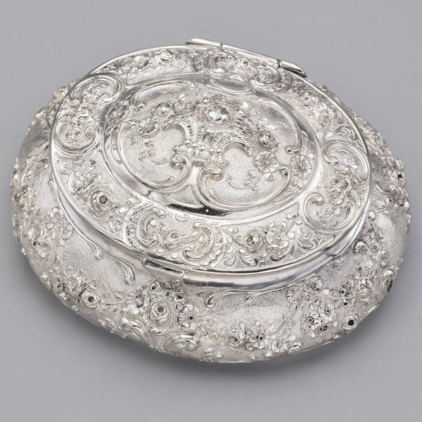 Antique 800 Silver Floral Etched Oval Box Case