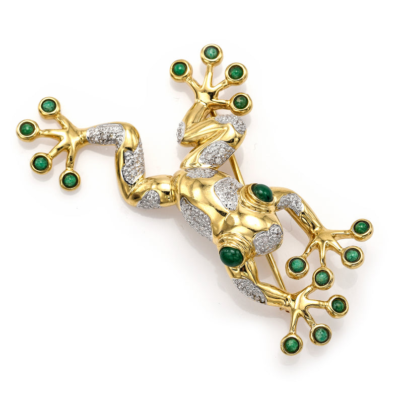 Vintage 14K Yellow Gold Emerald & Diamond Toad Frog Large Brooch Pin