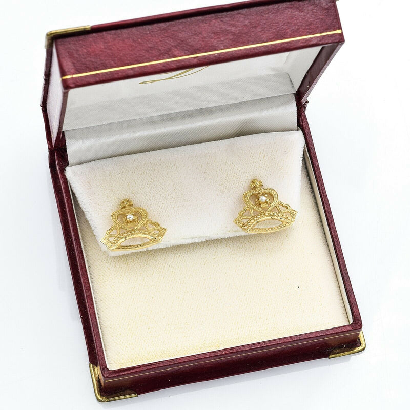 Vintage Princess Diana of Wales 14K Yellow Gold Pearl Earrings Limited Edition99