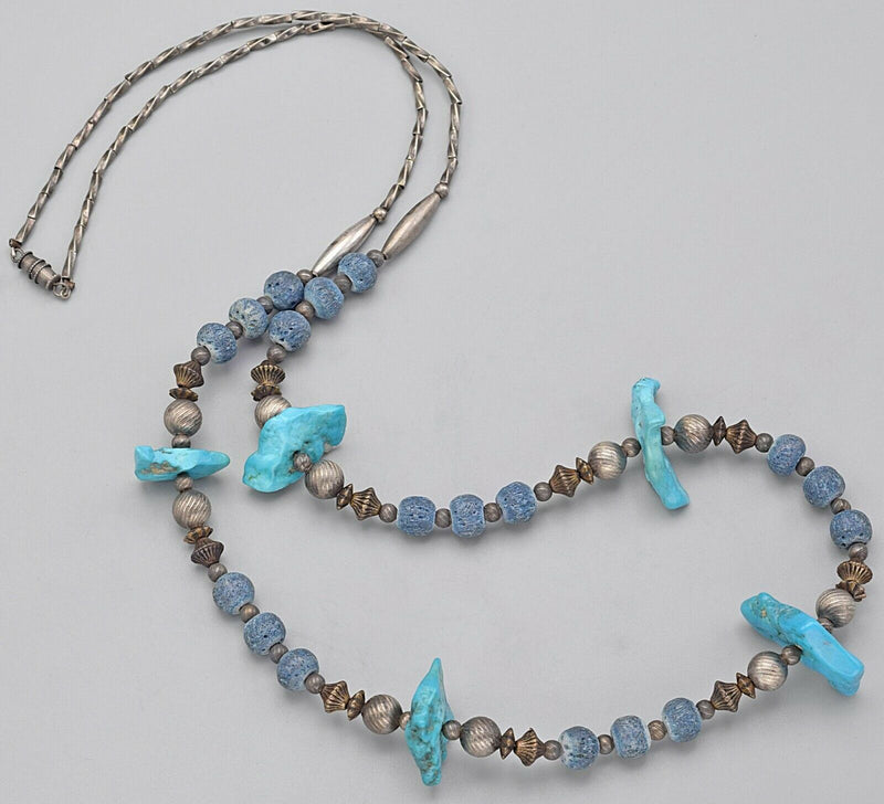 Vintage Sterling Silver Blue Coral & Turquoise Beaded Strand Necklace