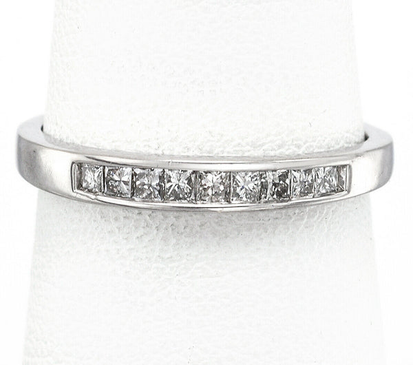 Vintage 14K White Gold 0.26 TCW Diamond Square Cut Band Ring