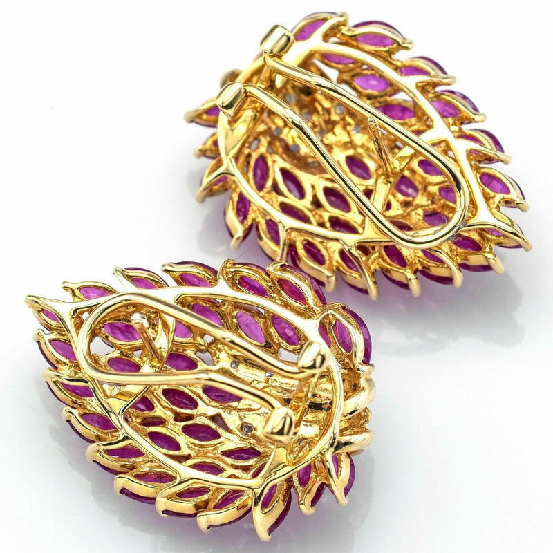 Vintage 14K Gold Non-Treated Ruby & Diamond Cluster Omega Back Earrings