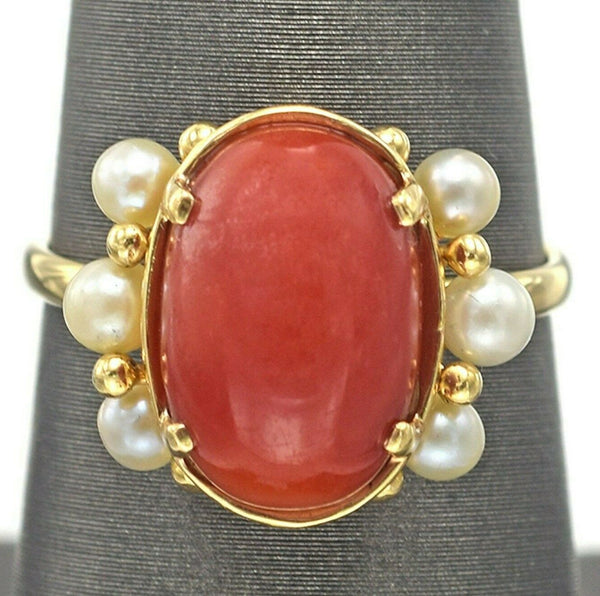 Ming's Vintage 14K Yellow Gold Red Coral & Sea Pearl Band Ring