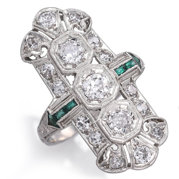 Antique Platinum 1.07 TCW Diamond & Green Paste Art Deco Cocktail Ring E/F VVS