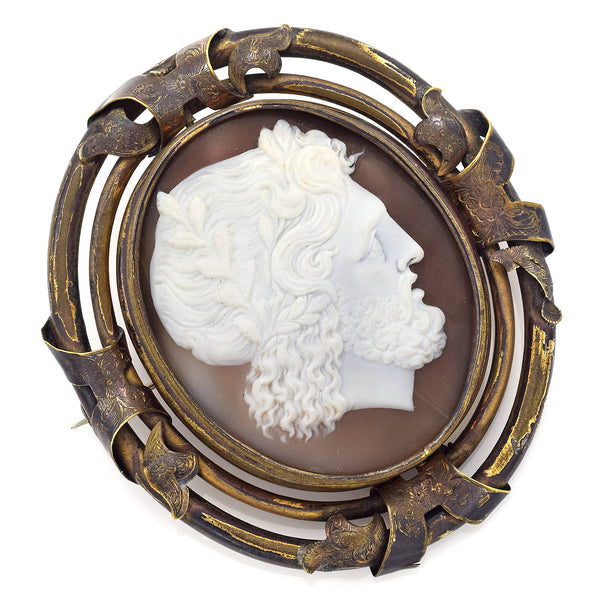 Antique Cameo Large Oval Swivel Mourning Brooch Pin