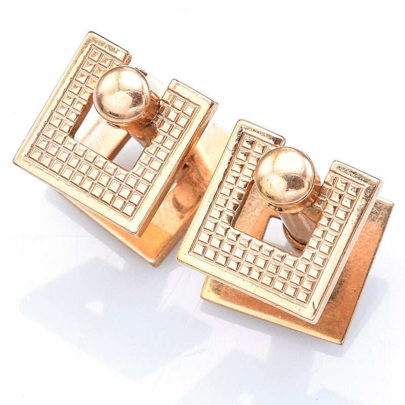 Vintage 14K Yellow Gold Open Square Etched Cuff Links