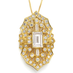 Vintage 18K Yellow Gold 2.79 TCW Diamond Pendant Necklace