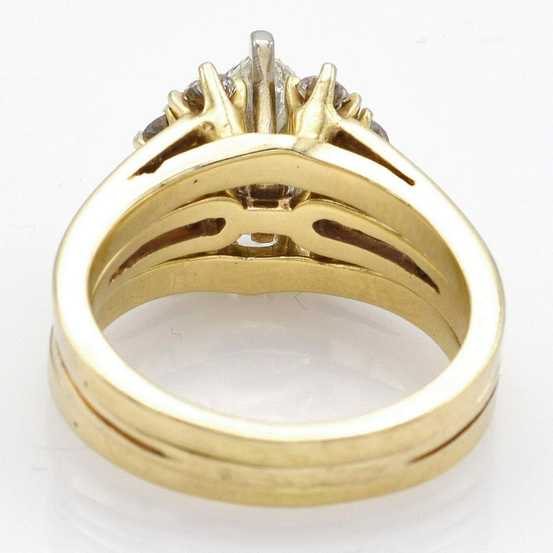 Vintage 14K Yellow Gold 0.84 Ct Marquise Diamond Three-Piece Ring Set