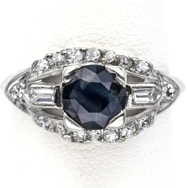 Vintage Platinum Sapphire & 0.52 TCW Diamond Band Ring