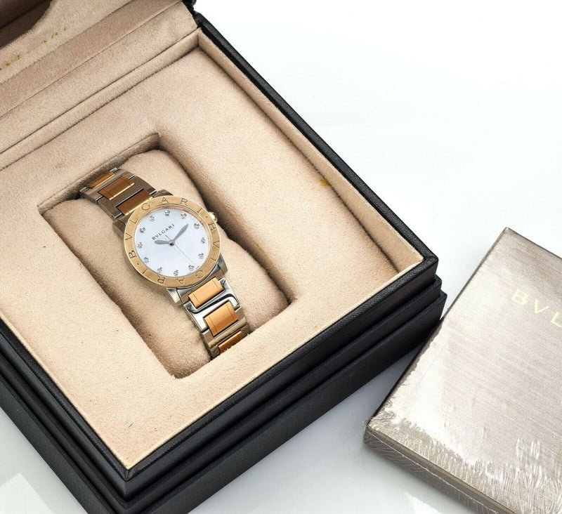Bvlgari 18K Rose Gold/Steel Mother of Pearl Diamond Dial Watch Automatic 33mm