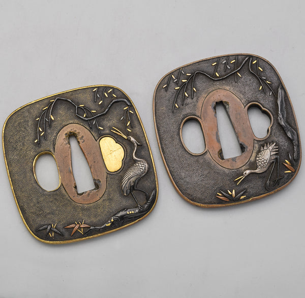 Antique Edo Period Sentoku Daisho Tsuba Set of 2 Japanese Sword Parts