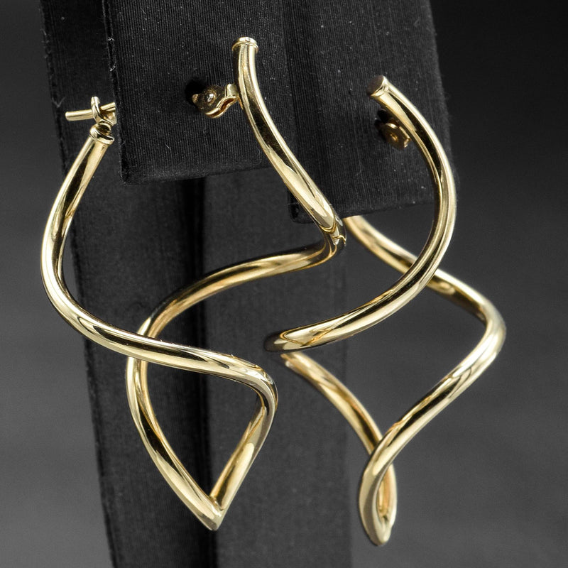 Vintage 14K Yellow Gold Twist Swirl Drop Dangle Earrings