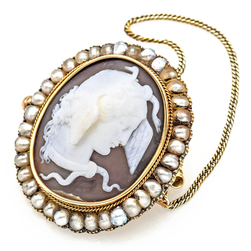 Antique 1800's 14K Yellow Gold Cameo Pearl Brooch Pin with Chain