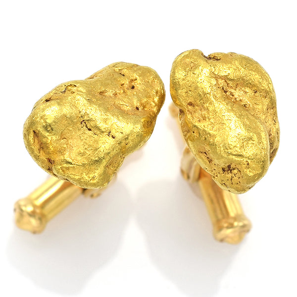 Vintage 24K Natural Yellow Gold Nugget 14K Gold Posts Cufflinks
