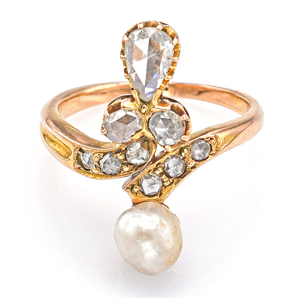 Antique 14K Yellow Gold 0.58 TCW Rose Cut Diamond & Sea Pearl Band Ring