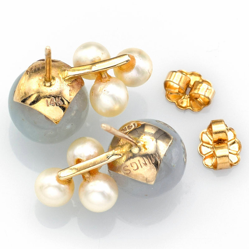 Ming's 14K Yellow Gold Green Jade & Sea Pearl Cluster Stud Earrings