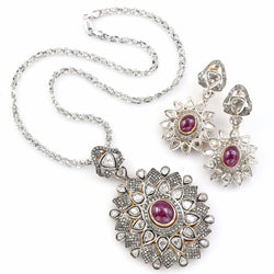 Antique 14K Gold 30 TCW Diamond & 20.4 TCW Ruby Earrings and Pendant Necklace Set