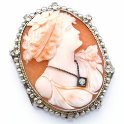Antique 14K White Gold Cameo Pearl Diamond Large Oval Brooch Pin Pendant