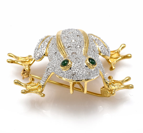 Vintage 14K Yellow Gold Emerald & 0.40 TCW Diamond Frog Brooch Pin Pendant