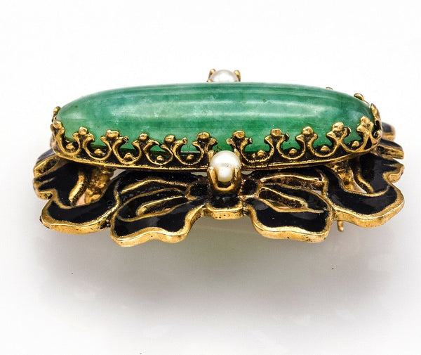 Vintage 14K Yellow Gold Green Jade & Sea Pearl Enamel Brooch Pin