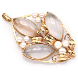 Ming's 14K Gold Translucent White Jade & Sea Pearl Leaf Brooch Pin Pendant