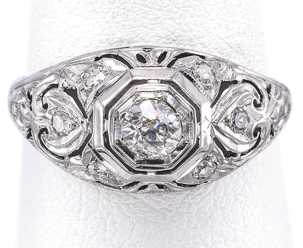 Antique 18K White Gold 0.40 TCW Old Euro Diamond Art Deco Band Ring