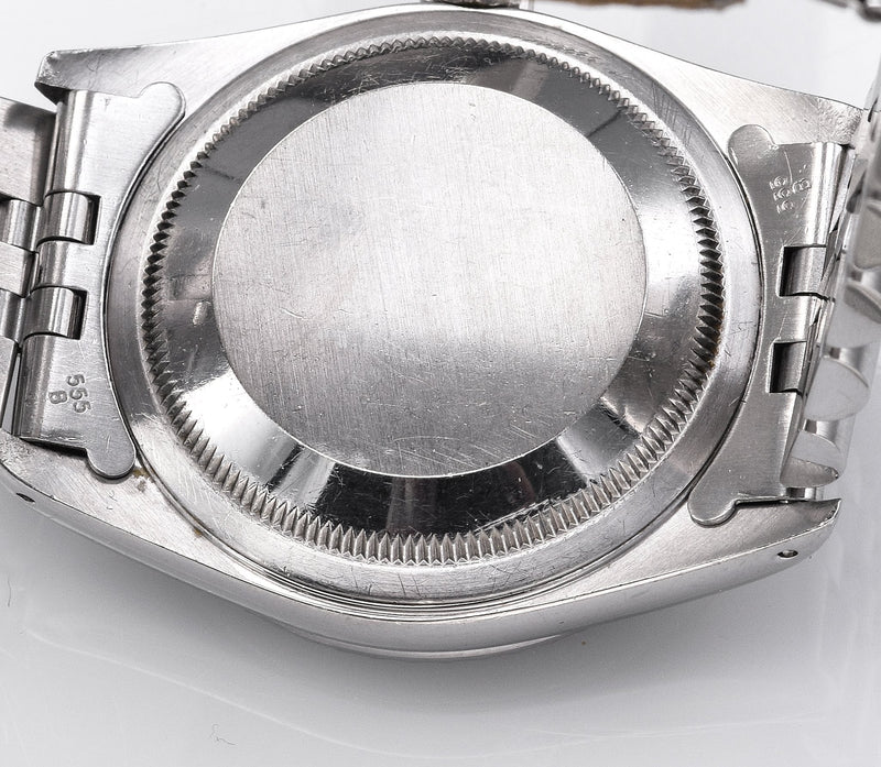 Vintage Rolex Datejust Watch Dark Grey Rhodium Dial Ref 16220