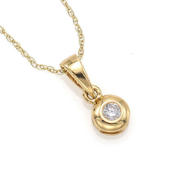 Vintage 14K Yellow Gold Diamond Pendant Necklace