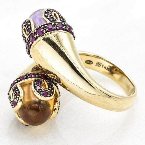 Estate 14K Yellow Gold Amethyst, Citrine, & Ruby Wrap Ring