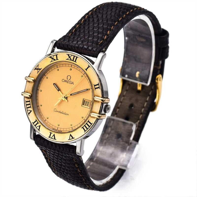 Vintage Omega Constellation 18K Gold/SS Quartz Men's Date Watch Ref. 1961080