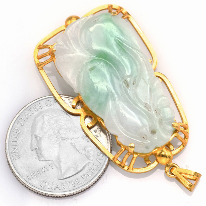 Vintage 14K Yellow Gold Green Jade Large Carved Pendant
