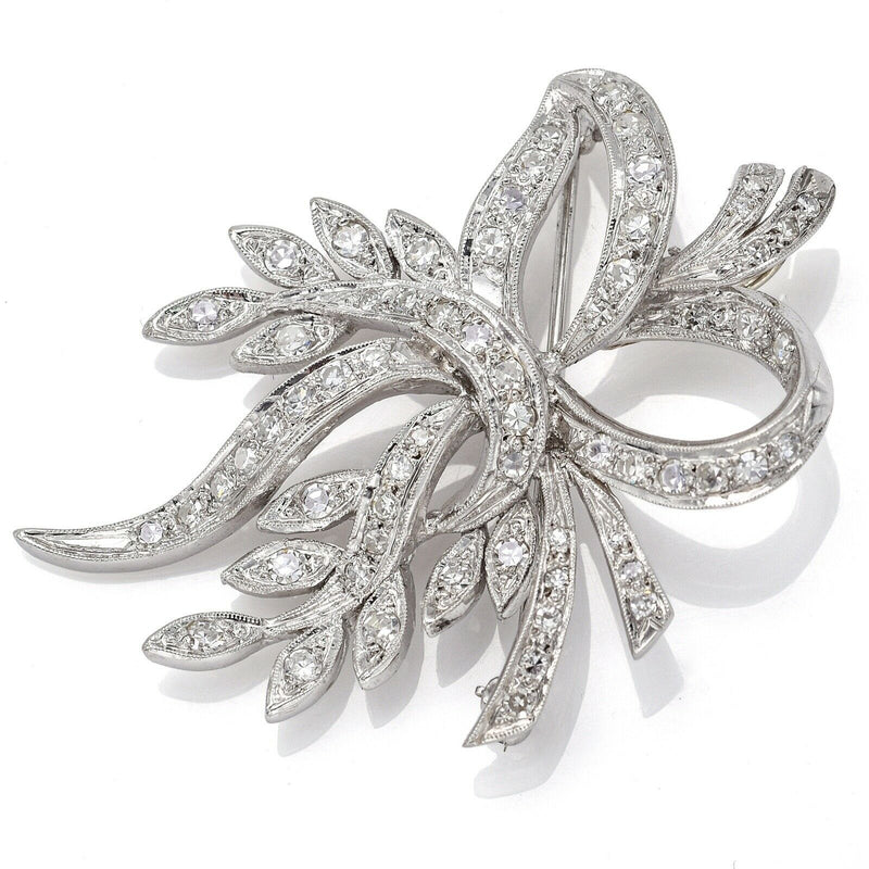 Vintage 14K White Gold 1.48 TCW Diamond Floral Pendant Brooch Pin