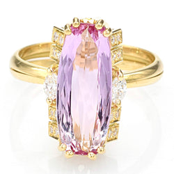 Vintage 18K Yellow Gold Pink Tourmaline & Diamond Cocktail Ring