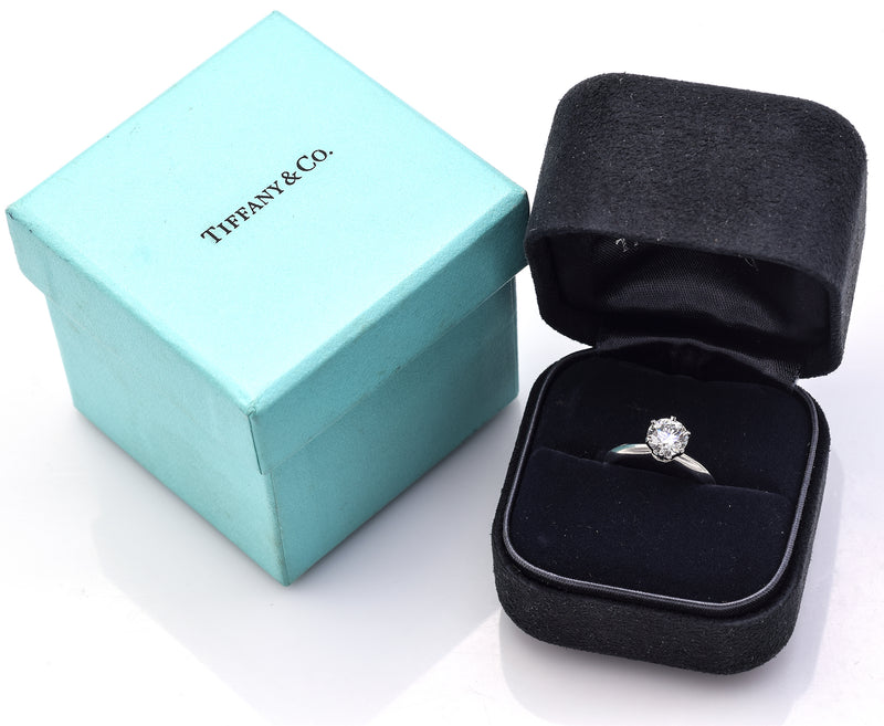 Tiffany & Co Certified Platinum 1.02 Ct Diamond Round Solitaire Band Ring