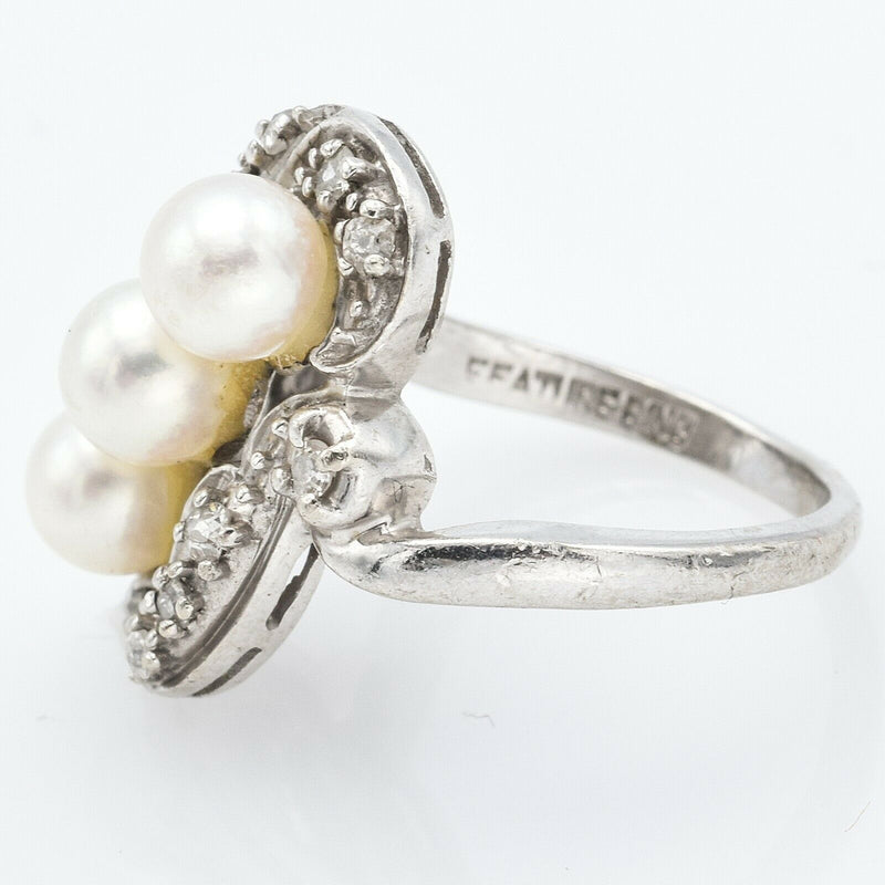 Vintage 14K White Gold Sea Pearl & Diamond Art Deco Ring