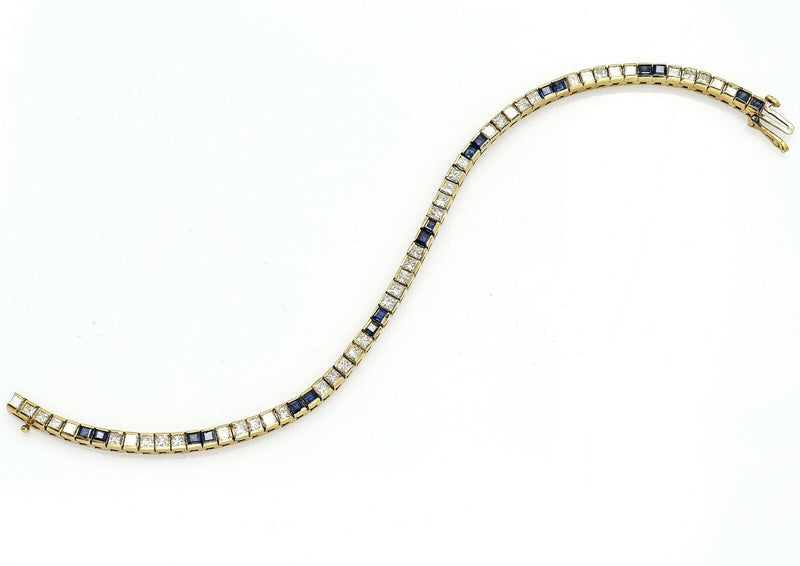 Estate 18K Yellow Gold Sapphire & Diamond Tennis Bracelet