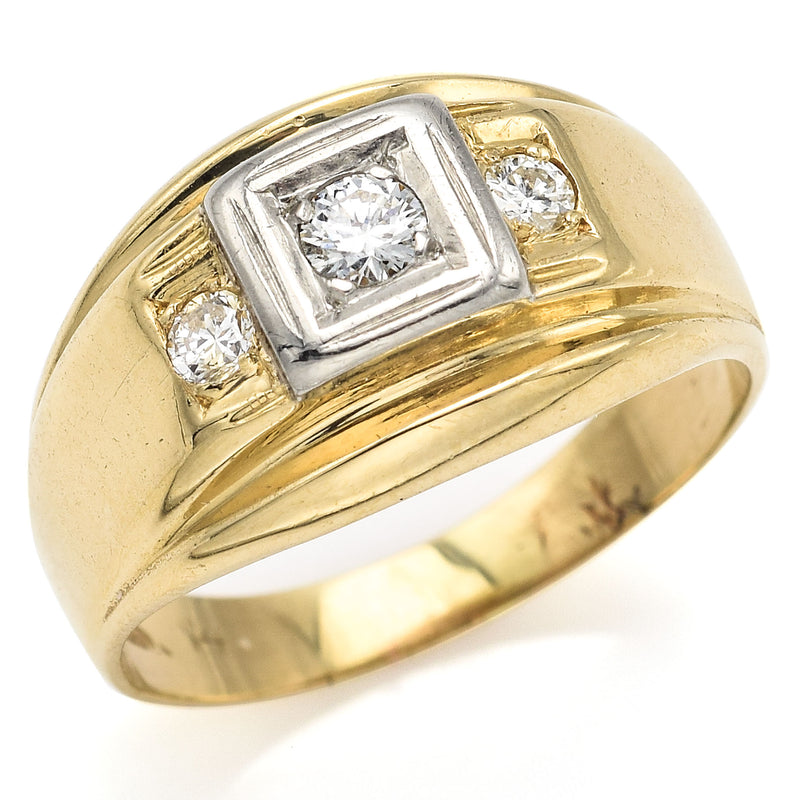 Vintage 14K Yellow & White Gold Diamond Three-Stone Band Ring