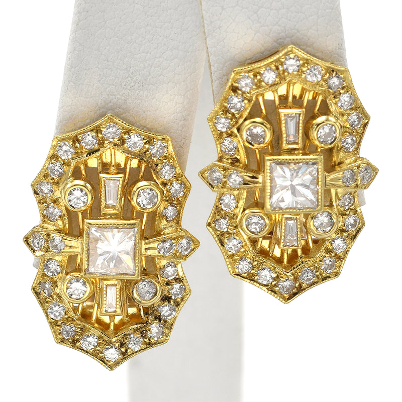 Vintage 18K Yellow Gold 2.02 TCW Diamond Omega Back Earrings