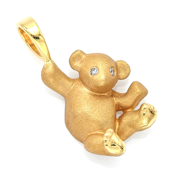 Vintage 14K Yellow Gold Diamond Teddy Bear Charm Pendant